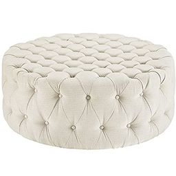 Modway Amour Fabric Upholstered Button-Tufted Round Ottoman in Beige | Amazon (US)
