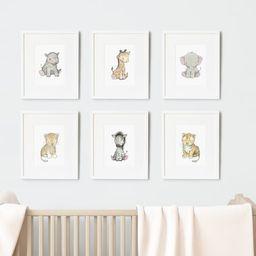 SET of 6 Prints, UNFRAMED Safari Baby Prints, Africa Animals, Giraffe, Elephant, Zebra and Lion, Gen | Etsy (UK)