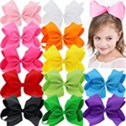 BIG 8 Inches Hair Bows For Girls Grosgrain Boutique Hair Bow Clips For Teens Kids Toddlers 12 Pcs   Amazon (US)