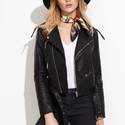 Faux Leather Moto Jacket With Buckle Belt   SHEIN