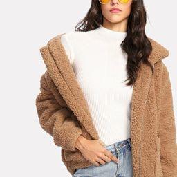 Dual Pocket Faux Fur Jacket | SHEIN