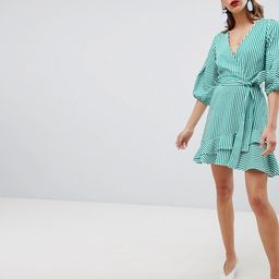River Island Tie Waist Wrap Front Ruffle Mini Dress | ASOS US