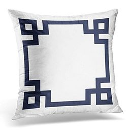 TORASS Throw Pillow Cover Cute Preppy Navy Blue and White Greek Key Girly Decorative Pillow Case Hom   Amazon (US)