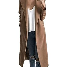CHARLES RICHARDS CR Women's Lapel Wool Blend Longline Winter Fall Warm Coat Overcoat   Amazon (US)