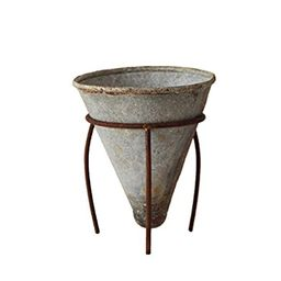 Creative Co-op DA4739 Tin Cone Shaped Flower Pot with Metal Stand | Amazon (US)