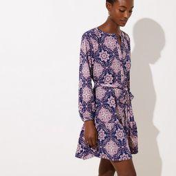 Tiled Tie Waist Flounce Dress | LOFT | LOFT