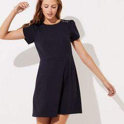 Pinstriped Shoulder Button Dress | LOFT | LOFT