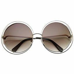 Women's Oversized Full Metal Wire Frame Glamour Round Sunglasses | Amazon (US)