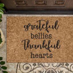 grateful bellies thankful hearts - welcome mat - outdoor mat - farmhouse decor -rustic decor - door  | Etsy (CAD)