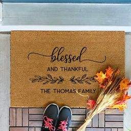Thanksgiving Decor, Fall Decor, Blessed and Thankful, Custom Door Mat, Personalized Doormat, Door Ma | Etsy (CAD)