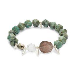 Sadie Silver Stretch Bracelet in Turquoise Mix   Kendra Scott