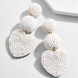 Vitina Heart Drop Earring-White   BaubleBar (US)
