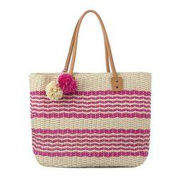 Olivia Miller Poppy Striped Multicolored Straw Tote Bag | Overstock