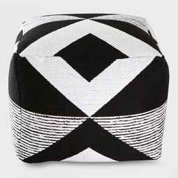 Geo Woven Outdoor Pouf Black - Project 62 | Target