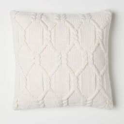 H & M - Cable-knit cushion cover - White | H&M (UK, IE, MY, IN, SG, PH, TW, HK, KR)