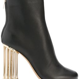 Salvatore Ferragamo flower heel ankle boots - Black   FarFetch US