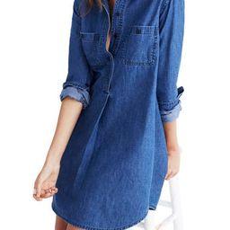 Women's Madewell Denim Popover Shirtdress, Size X-Small - Blue   Nordstrom