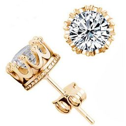 Fashion Crown 18k Gold Plated Earrings Women Brincos De Prata Men Sterling Silver Crystal Jewerly Double Stud Earing   Rosewholesale USA