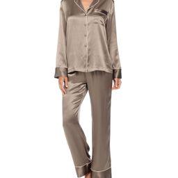 Contrast-Trim Long-Sleeve Silk Pajama Set, Size: LARGE, BRULEE W/BLACK - Neiman Marcus | Neiman Marcus
