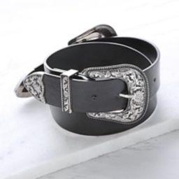 Black Double Vintage Carved Buckle Belt | SHEIN