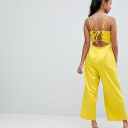 Fashion Union Petite Cami Jumpsuit With Tie Back In Satin - Yellow | ASOS US