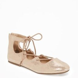 Old Navy Metallic Lace Up Ballet Flats For Girls Size 1 - Rose gold   Old Navy US
