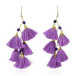 Zig Zag Tassels Stone Brass Drop Earrings (Thailand) | Overstock