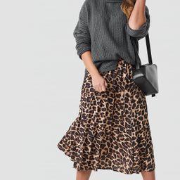 Trendyol Leopard Patterned Pleat Midi Skirt - Brown | NA-KD Global