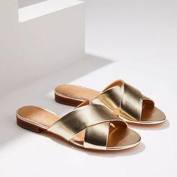 LOFT Metallic Criss Cross Slide Sandals   LOFT