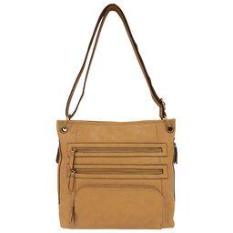 Bueno Veg Tan Leather Triple Zip Crossbody Cashew - Bueno Manmade Handbags   eBags