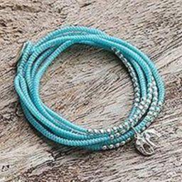 Silver wrap bracelet, 'Amazing Elephant in Sky Blue' (Thailand) | Novica
