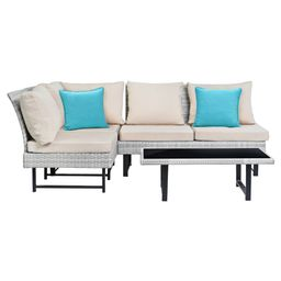 Aleron 4pc All-Weather Wicker Patio Sectional Set - Beige/Teal - Safavieh | Target