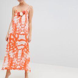 America & Beyond Orange Tie Dye Maxi Beach Dress With Pom Pom Details - Orange | ASOS UK