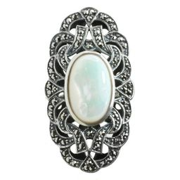 Dallas Prince Sterling Silver Mother of Pearl and Marcasite Ring   Overstock