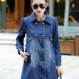 Denim Jacket Women Trench Coat Long Sleeve Casual Jacket For Women | Milanoo