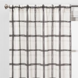 "2pc 40""""x84"""" Light Filtering Plaid Window Curtain Panels Black/White - Threshold , White Black | Target"