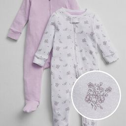 Gap Baby Favorite Dot Footed One-Piece (2-Pack) Pale Lilac Size 3-6 M | Gap US