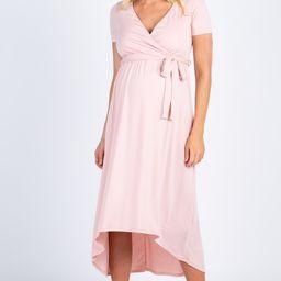 Light Pink Solid Hi-Low Maternity Wrap Dress   PinkBlush Maternity