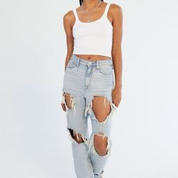 BDG High-Waisted Mom Jean - Destroyed Light Wash - Blue 24 at Urban Outfitters | Urban Outfitters (US and RoW)