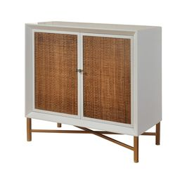 2-drawer White Gloss Lacquer Cabinet - Natural Woven Cane Doors and Antique Gold Frame   Overstock