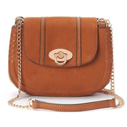 LC Lauren Conrad Macaron Stitched Saddle Bag, Women's, Dark Brown | Kohl's