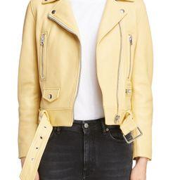 Women's Acne Studios Leather Moto Jacket, Size 2 US / 32 EU - Yellow | Nordstrom