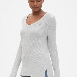 Diagonal Ribbed V-Neck Pullover Sweater Tunic   Gap US