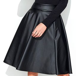 Black Faux Leather A-Line Skirt - Women | zulily