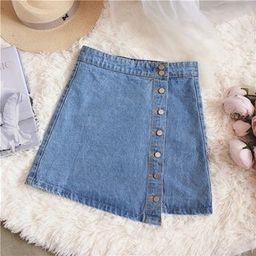 Buttoned Denim A-Line Mini Skirt   YesStyle Global