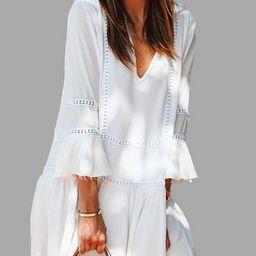 White V-Neck Bell 3/4 Length Sleeves Ruffle Hem Mini Dress | YOINS