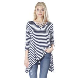 JED Women's Navy and White Striped Criss-cross Neckline Asymmetric Tunic Top   Overstock