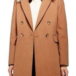 Women's Topshop Naomi Faux Fur Collar Coat, Size 2 US (fits like 0) - Beige | Nordstrom