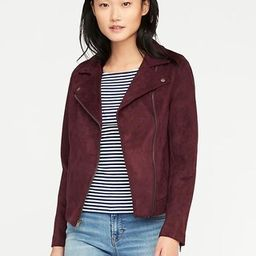 Old Navy Womens Sueded-Knit Moto Jacket For Women Wine Tasting Size L | Old Navy US