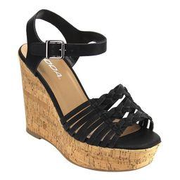 Soda ID00 Women's Weaved Buckle Ankle Strap Platform Wedge Sandals | Overstock